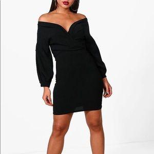 Off the Shoulder Wrap Bodycon Dress
